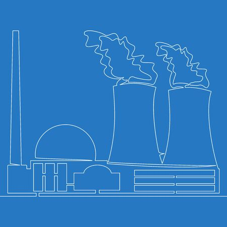 Continuous one single line drawing nuclear power station icon vector illustration concept Ilustração