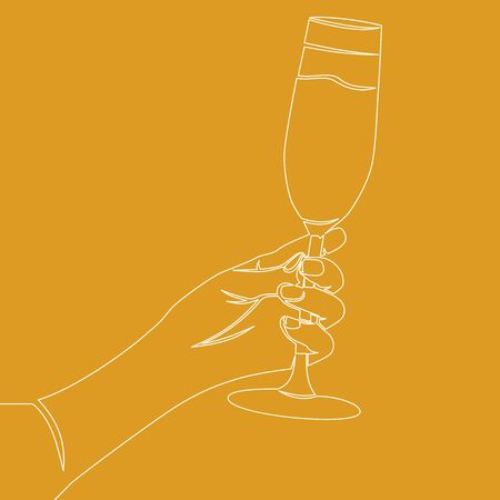 Continuous one single line drawing Hand cheering with glass icon vector illustration concept Imagens - 130344264