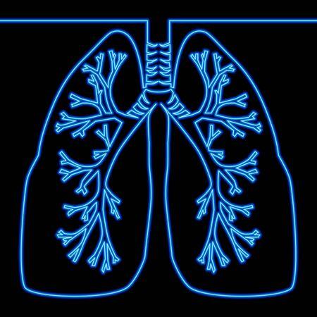 Continuo un disegno a tratteggio polmoni Medicina icona bagliore al neon illustrazione vettoriale concept Vettoriali