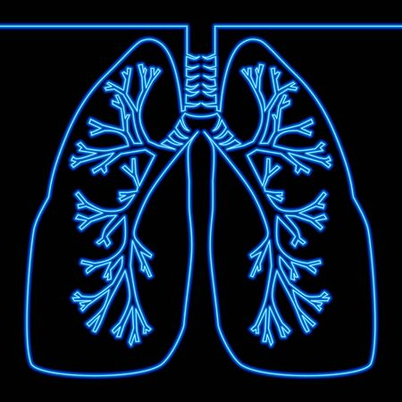 Continuous one line drawing lungs Medicine icon neon glow vector illustration concept Ilustração