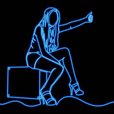 Continuous one line drawing traveler girl icon neon glow vector illustration concept