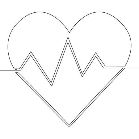 Single continuous one line art heart heartbeat Healthy medicine icon vector illustration concept