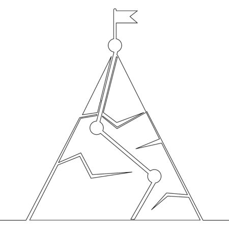 Continuous one single line drawing mountain overcome challenges icon vector illustration concept