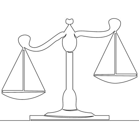 Continuous one single line drawing scales of justice courtroom icon vector illustration concept