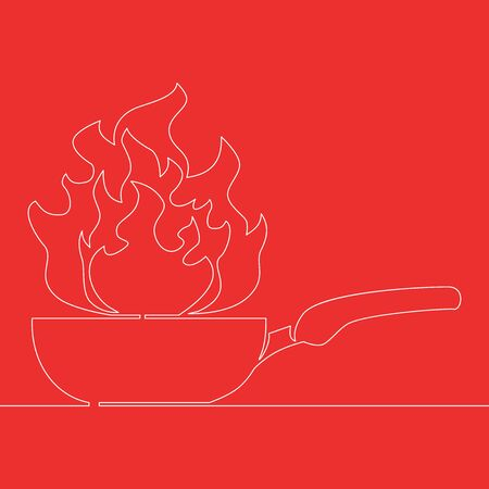 Continuous one single line drawing frying pan with fire icon vector illustration concept