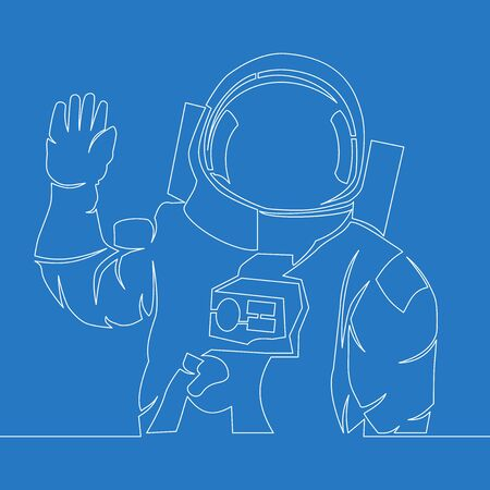Continuous one single line drawing astronaut greeting icon vector illustration concept Ilustração