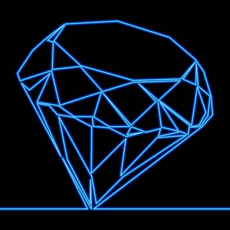 Continuous one line drawing Jewelry diamond icon neon glow vector illustration concept