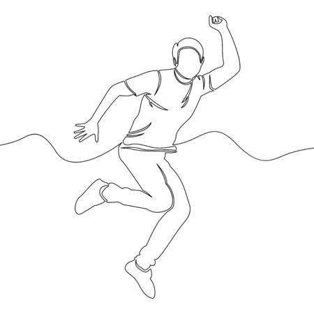 Continuous one single line drawing happy man jumping rejoice icon vector illustration concept