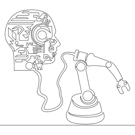 Continuous one single line drawing intelligent factory robotic arm icon vector illustration concept