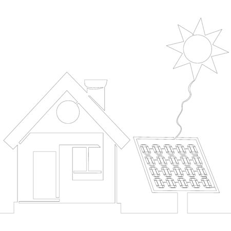 Continuous one single line drawing residential solar panel system icon vector illustration concept Ilustração