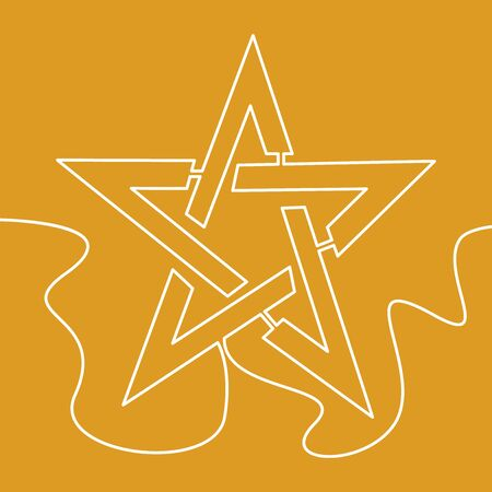 Continuous one single line drawing star icon vector illustration concept