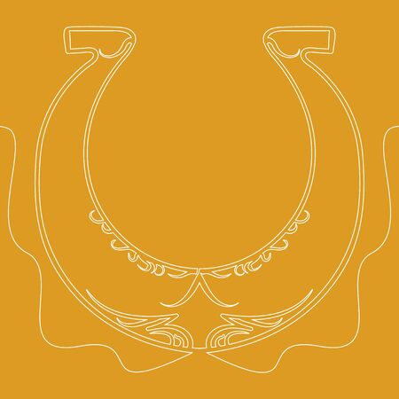 Continuous one single line drawing horseshoe luck icon vector illustration concept