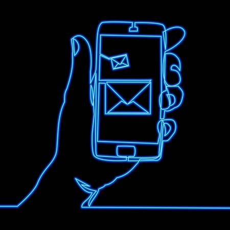 Continuous one single line drawing Phone with message icon neon glow vector illustration concept