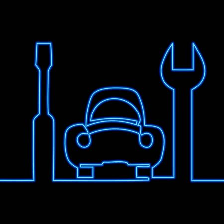 Continuous one single line drawing repair service icon neon glow vector illustration concept
