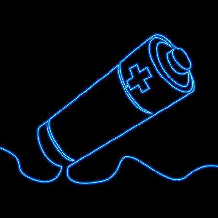 Continuous one single line drawing Battery icon neon glow vector illustration concept