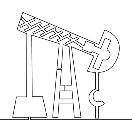 Continuous one single line drawing Oil derrick Pump icon vector illustration concept