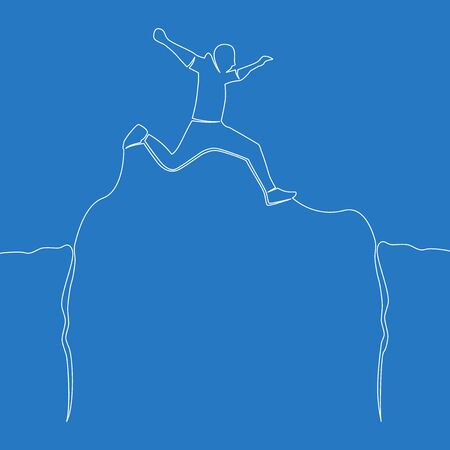 Continuous one single line drawing man jumping through abyss icon vector illustration concept