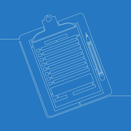 Continuous one single line drawing clipboard checklist icon vector illustration concept