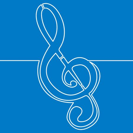 Continuous one single line drawing Treble clef icon vector illustration concept Ilustração