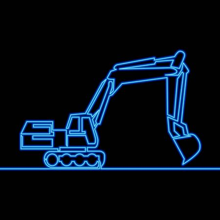 Continuous one single line drawing Backhoe Excavator icon neon glow vector illustration concept Imagens - 130344378
