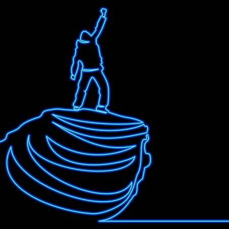 Continuous one single line drawing man on the top icon neon glow vector illustration concept