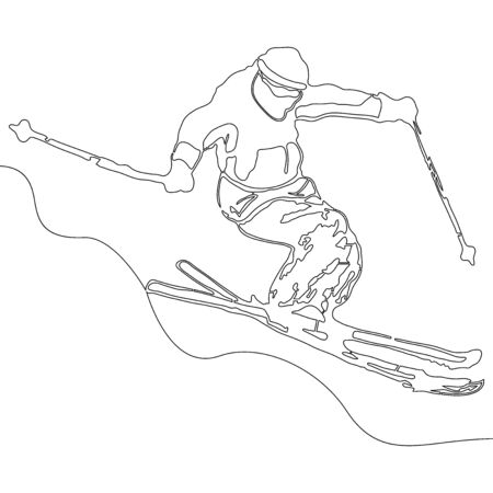 Continuous one single line drawing Skiing man icon vector illustration concept Ilustração