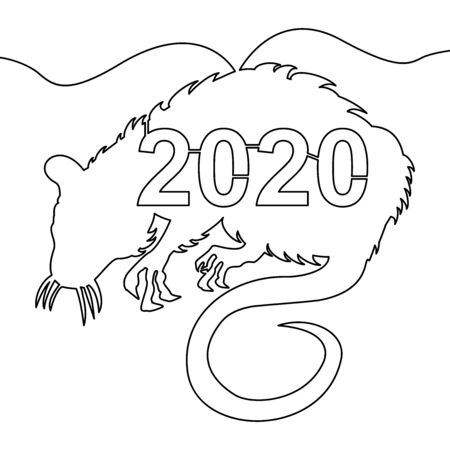 Continuous one single line drawing Year of the Rat 2020 icon vector illustration concept