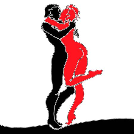 Flat colorful continuous drawing line art Couple Kissing icon vector illustration concept Ilustração