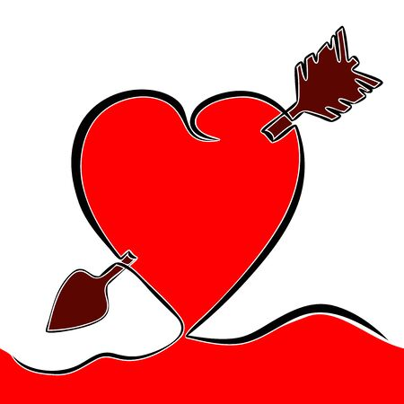 Flat colorful continuous line art drawing Lovestruck arrow through heart icon vector illustration concept