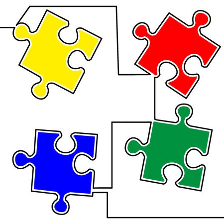 Flat colorful continuous line art drawing Puzzle jigsaw icon vector illustration concept