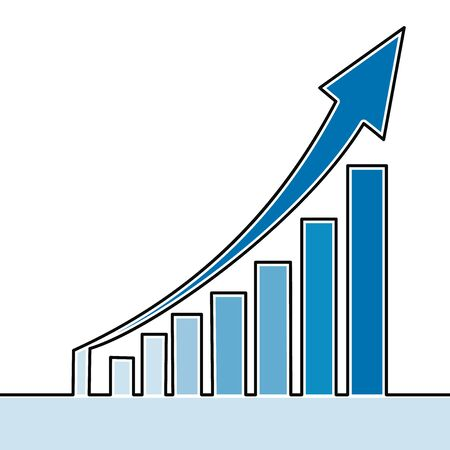 Plat coloré ligne continue art dessin graphique de la croissance des bénéfices icône concept d'illustration vectorielle