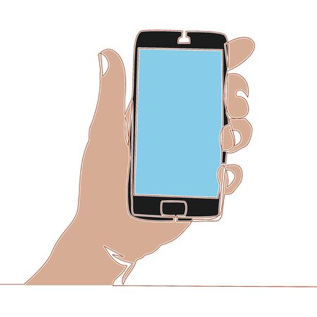 Flat colorful continuous line art drawing hand holding mobile phone icon vector illustration concept