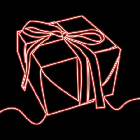 Continuous one single line drawing Present Box icon neon glow vector illustration concept