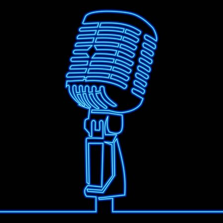 Continuous one single line drawing Retro microphone   icon neon glow vector illustration concept