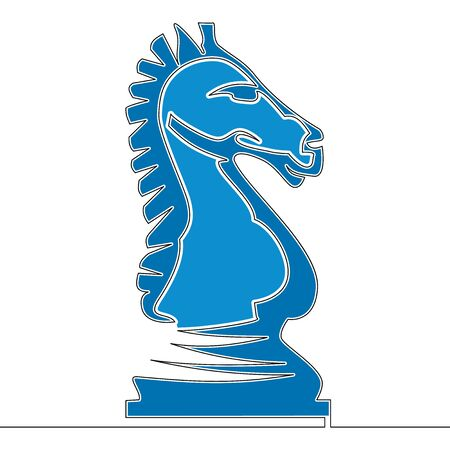 Flat continuous line art Horse Knight chess piece icon vector illustration concept