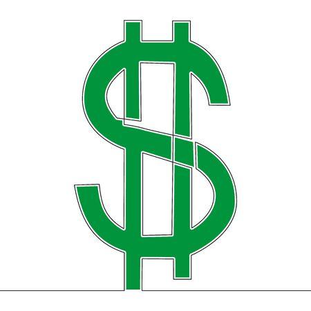 Flat continuous line art US Dollar symbol icon vector illustration concept Imagens - 132364569