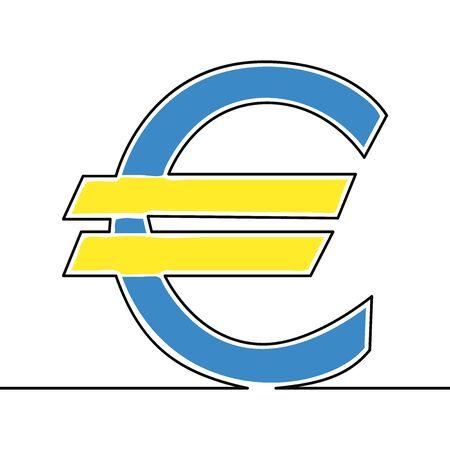 Flat continuous line art Euro symbol icon vector illustration concept