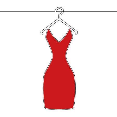 Flat continuous line art Red dress on hanger icon vector illustration concept