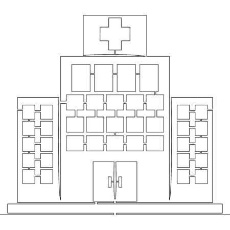 Continuous one single line drawing Hospital building icon vector illustration concept