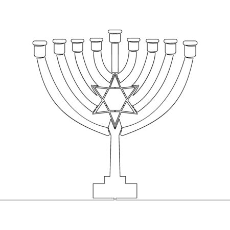 Continuous one single line drawing menorah Hanukkah icon vector illustration concept Ilustração