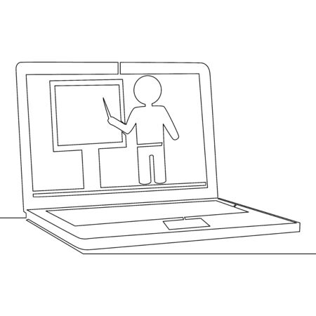 Continuous one single line drawing online education tutorial icon vector illustration concept
