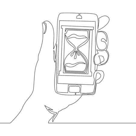 Continuous one single line drawing time online icon vector illustration concept