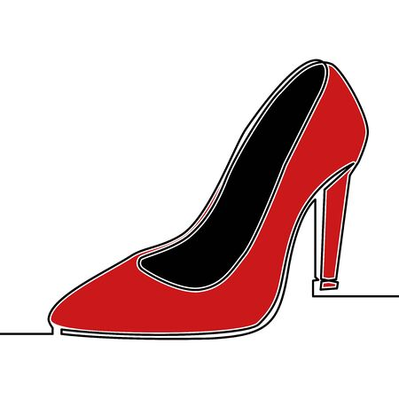 Flat colorful continuous drawing line art red high heel shoes icon vector illustration concept