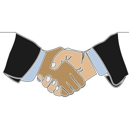 Flat colorful continuous drawing line art Handshake icon vector illustration concept Ilustração