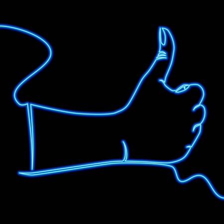 Continuous one single line drawing hand gesture Like neon glow vector illustration concept Ilustração
