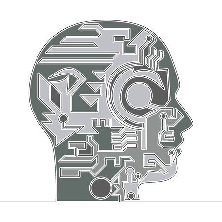 Flat colorful continuous line drawing art Artificial Intelligence icon vector illustration concept Imagens - 133314637