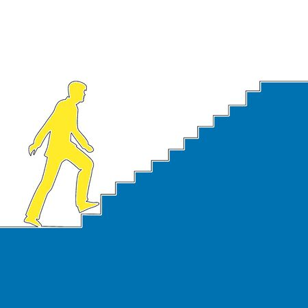 Flat colorful continuous line drawing art Businessman climbs stairs icon vector illustration concept Imagens - 135381557