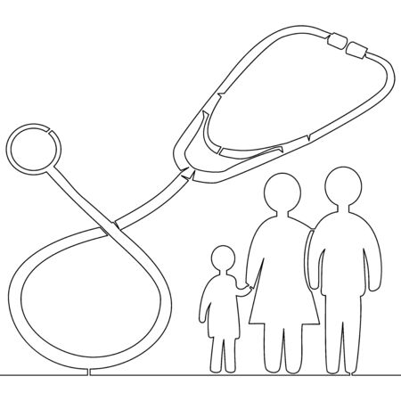 Continuous one single line drawing family doctor pediatric clinic icon vector illustration concept Imagens - 136802460