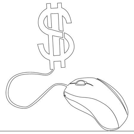 Continuous one single line drawing Pay per click freelance icon vector illustration concept Ilustração