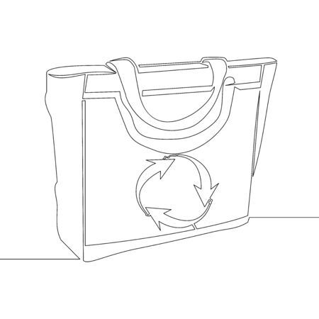 Continuous one single line drawing Eco Bag icon vector illustration concept Imagens - 136802836